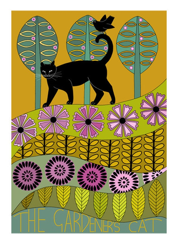 Art illustration, Folk art, Black cat art, 10 x 8, Animal art print, Wall art, Modern art, Contemporary art, Gold green lilac, Cat and bird
