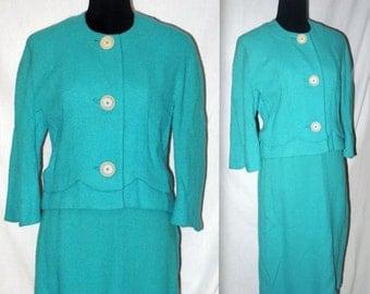 Sweet success  .. Vintage 50s 60s suit / 1950s skirt jacket set / 1960s Jackie O mad men / aqua blue boucle / secretary office wear .. S M