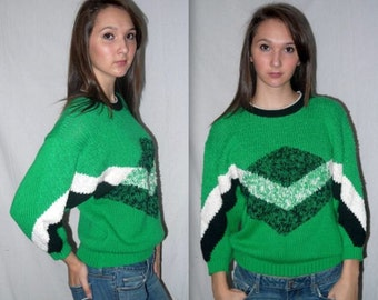Oingo Boingo ... Vintage 80s geometric sweater / green knit pullover / abstract / new wave hipster / bat wing slouchy .. XS S M
