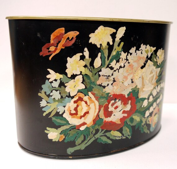 Vintage Hand Painted Tole Planter 1950s Paint by Numbers