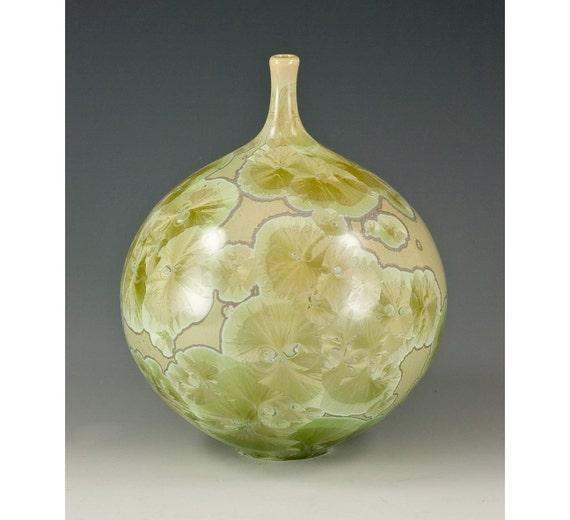 Sage Green Crystalline Glazed Bottle: Free US Shipping