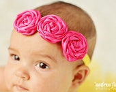 Satin Mini Rosette Flower Headband, Custom Colors,  M2M
