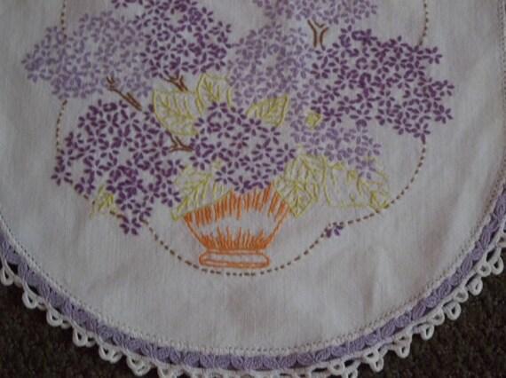 Hand embroidered Dresser Set Linens doilies lavender purple vintage antique set 4pc