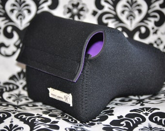 DSLR Camera Case - black with Bright purple neoprene