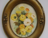 Vintage Oil Painting-Gold Oval Frame-Botanical-Summer Flowers-Mid Century