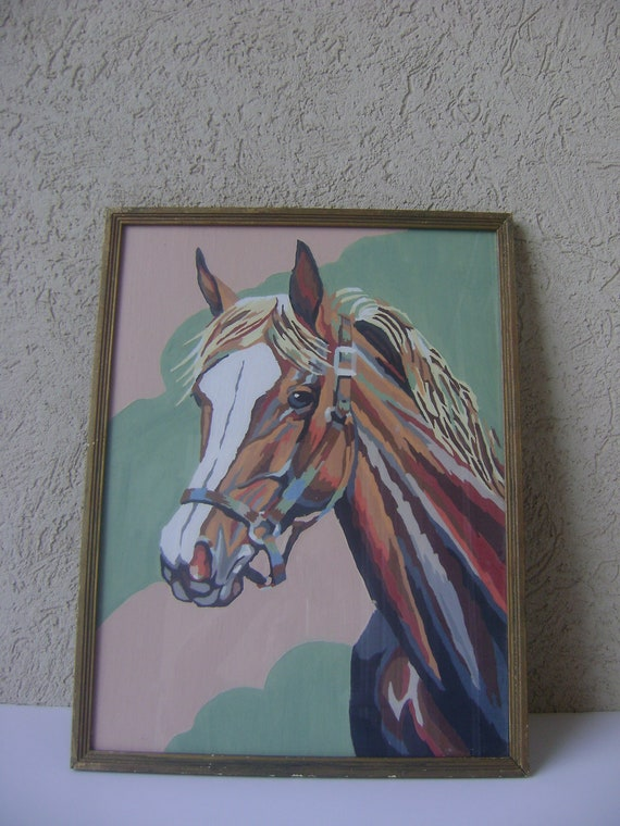 Vintage Paint By Number Horse Painting-Watercolor-Palomino Horse-1950's Wall Art