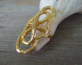 Infinity Ring Adjustable Gold Infinity Knot 1970s Spain Deadstock