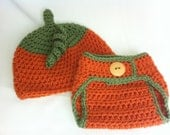 Pumpkin Hat and Diaper Cover-- Made to Order