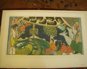 Limited Edition 1975 Signed and Numbered Simon Lissim Fine Art Print Curtain Design Gouache Print Numbered 49