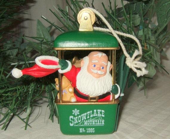 Vintage Hallmark   Snowflake Mountain Christmas ornament Santa Ski gondola cable car 1985.  free continental US shipping