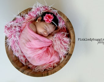 frosted pink faux fur newborn photo prop