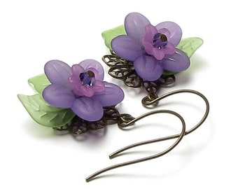 Violets in the Meadow Floral Crystal Antique Brass French Hoop Earrings, Nature Inspired Earrings, Purple Twilight Earrings, Gift for Women