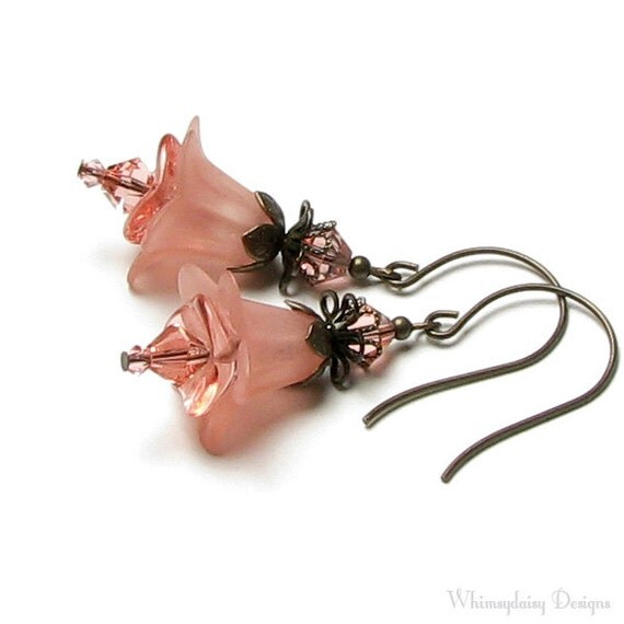 French Peach Pink Floral Swarovski Crystal Antique Brass French Hoop Flower Earrings
