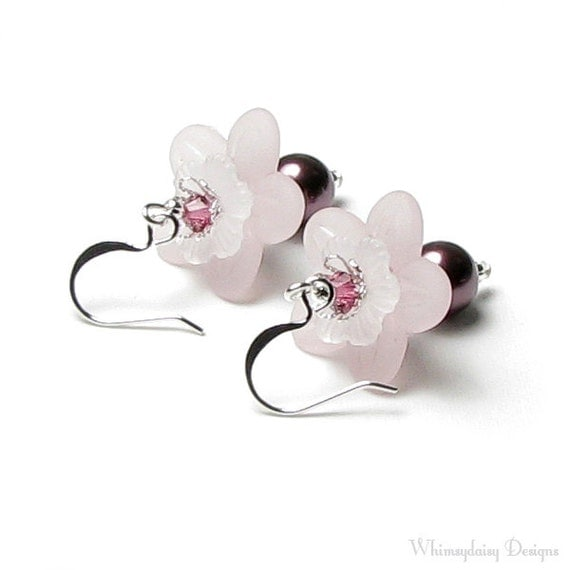 Pure Romance Pink Floral Swarovski Crystal And Pearl Silver Earrings