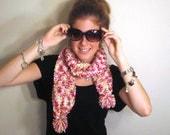 Knit Scarf Pom Pom Pink White