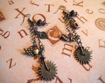 Gears and wings dangle earrings