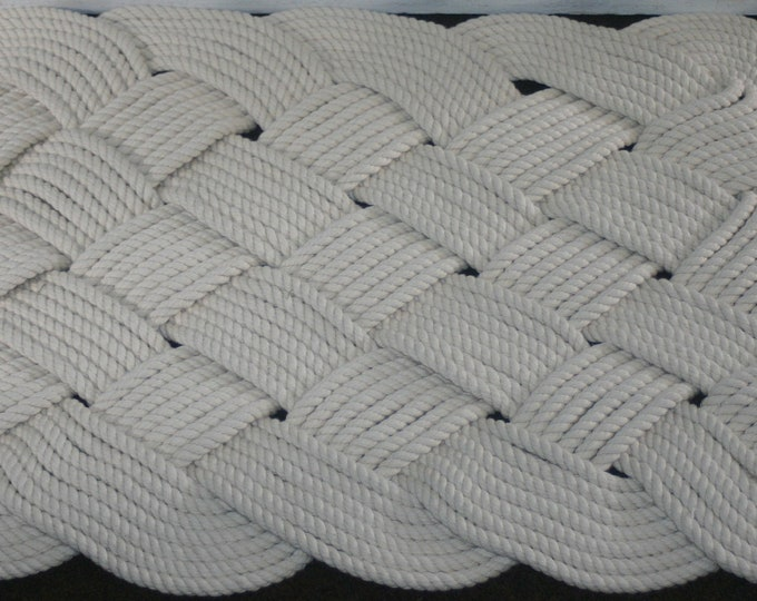 "Cotton Soft Rope Rug Square 28"" x 22""  Off-White Beautiful Soft Mat Nautical Knotted Bath Mat"