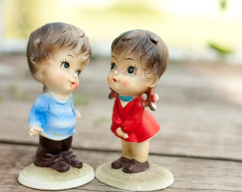 Adorable vintage boy and girl figurines with brown hair & big eyes, mid century porcelain children, Japan