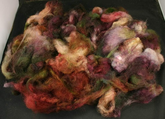 Hand painted fleece East Frisean milk sheep, 4 oz, fiber for spinning and needle felting