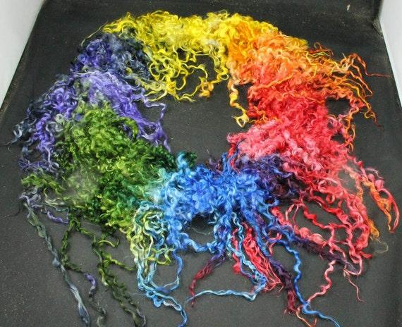 Handspun art yarn: Teeswater rainbow locks tailspun, 14 yards, 100 % wool