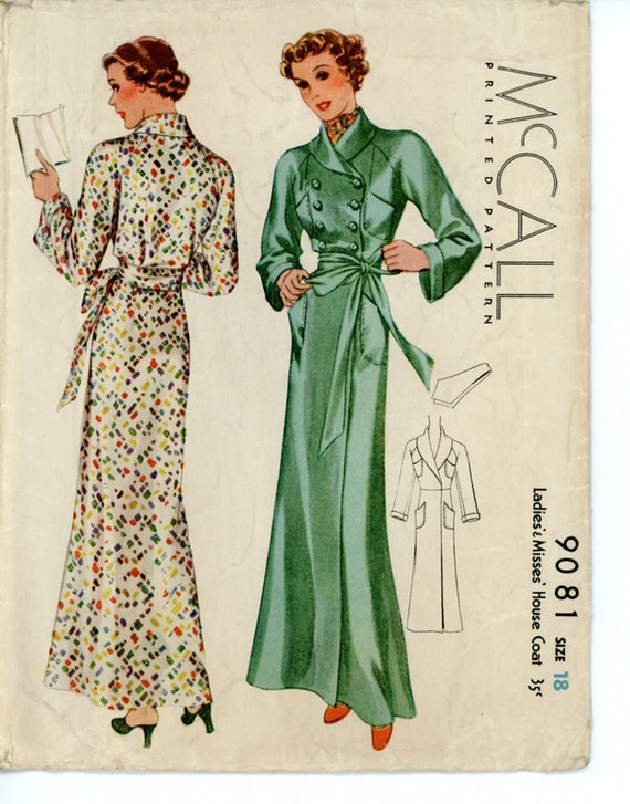 McCall 9081 Misses 1930s House Coat Pattern Double Breasted Ankle Length Robe with Neck Scarf Womens Vintage Sewing Pattern Bust 36