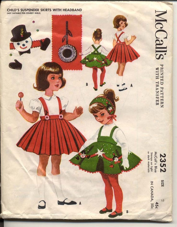 McCalls 2352 Girls 1950s Holiday Poodle Skirt Pattern Suspenders Headband Holiday Applique Childrens Vintage Sewing Pattern Waist 20
