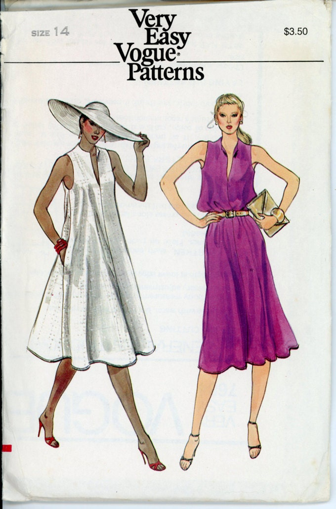 Vogue 7684 Misses 1980s Dress Pattern Flared Wing By