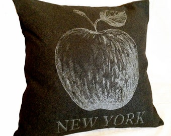 READY TO SHIP: New York Apple Pillow Cover from Olive Military Blanket