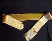 Vintage GOLD Snake Link Belt Metal  Bling One Size fits All