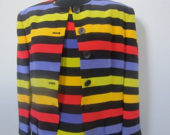 1980's 2 piece silk outfit of brilliant hued horizontal stripes