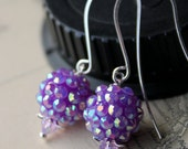 AB Lavender Rhinestone Balls and Crystals Basketball wives Dangle Earrings