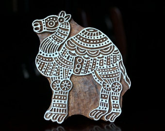 Hand Carved Indian Wood Textile Stamp Block- Camel (Reduced)