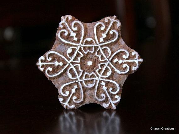 Handmade Indian Wood Textile Stamp- Floral Motif (Reduced)