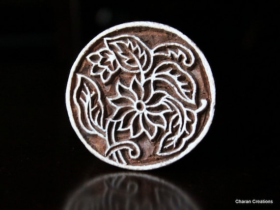 Hand Carved Indian Wood Textile Stamp Block- Round Art Nouveau Floral Motif