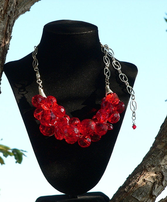 Chunky Red Cherry Beaded Statement Necklace Wire Crochet Wedding Bridal Prom Quinceanera  - Red Cherry Rock Candy