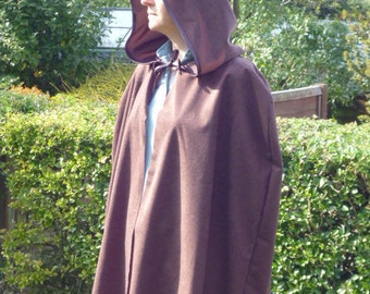 Cape Cloak with hood for adult available in black brown white blue pink green yellow cerise red