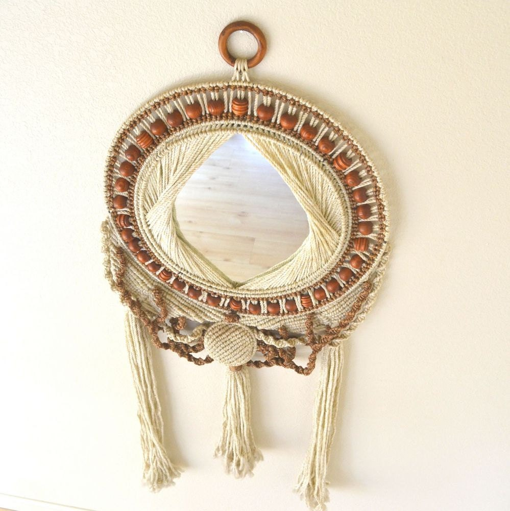 reserved 1970s large macrame mirror wall hanging hippie chic. Black Bedroom Furniture Sets. Home Design Ideas