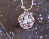 Silver Three Eggs Bird Nest Necklace, Summer Trends, Gift