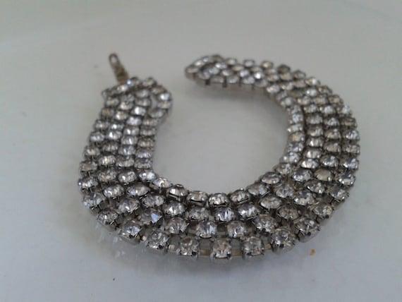 Art Deco Triple Strand Rhinestone Bracelet
