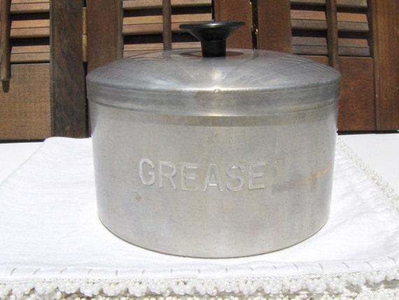 Vintage Aluminum Grease Container Retro Kitchen Ware