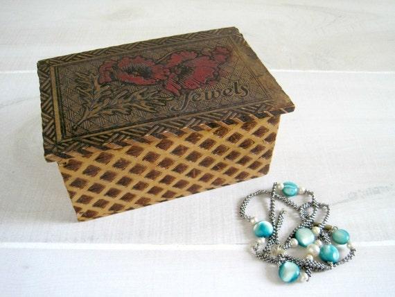 Vintage Wood Burned Jewelry Box - Pyrography