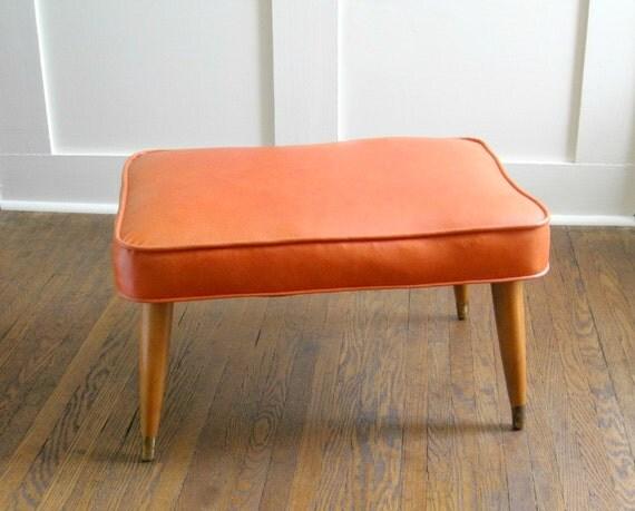 Mid-Century Modern Orange Vinyl Ottoman