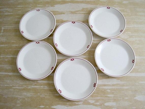 Vintage Restaurant Ware Plates - Red Kitchen Decor