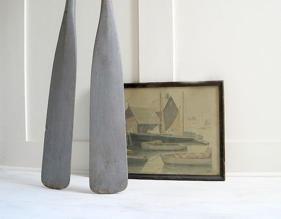 Vintage Gray Wooden Boat Oars Paddles - Nautical Chic