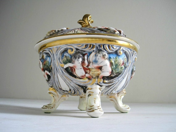 Vintage Capo-Di-Monte Covered Bowl w/ Cherubs