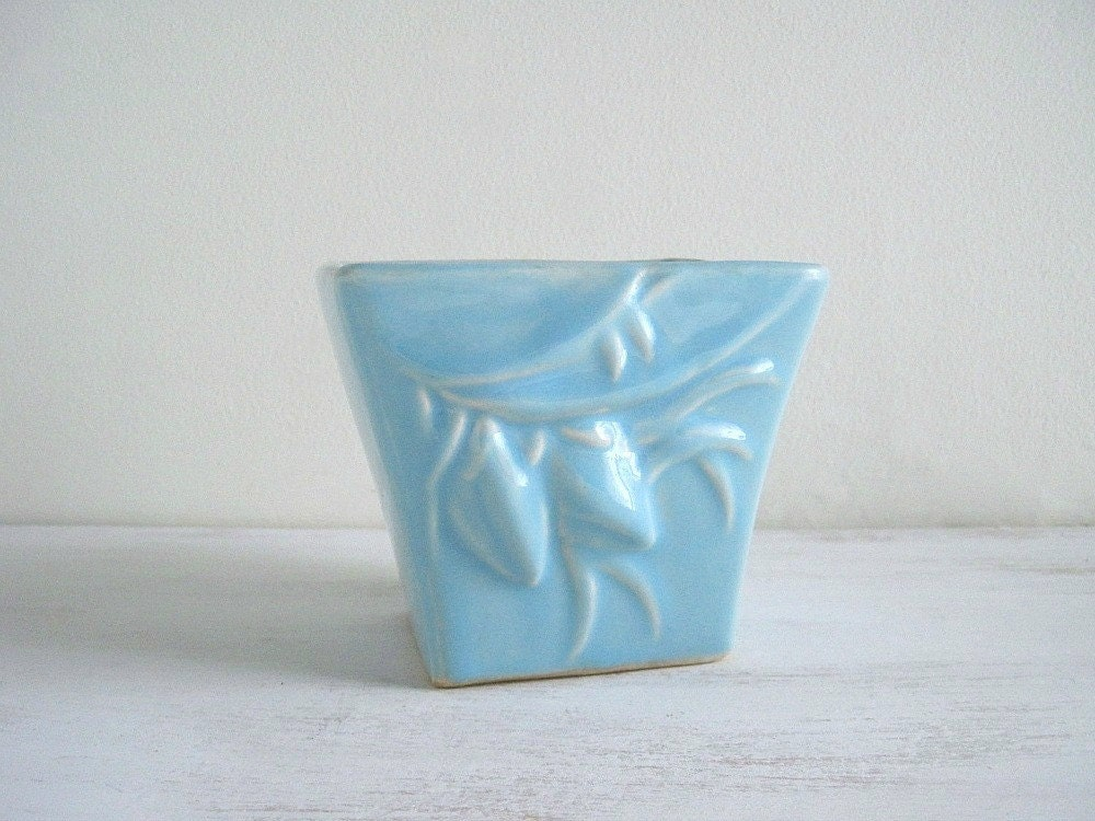 Vintage Blue Mccoy Pottery Vase Planter Cottage Decor