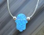 Hamsa Necklace - Sterling Silver Blue Opal Hand of God Hamsa Necklace