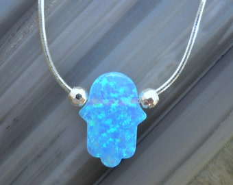 Hamsa Necklace - Sterling Silver Blue Opal Hand of God Hamsa Necklace