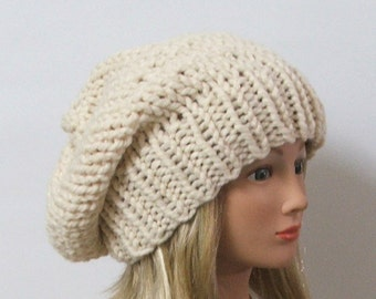 Chunky Knit Winter White Slouchy Beret Hat