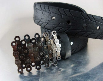 Vertical Recycled Bike Chain Belt Buckle- Clear Finish